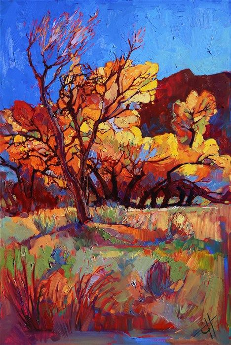 Cottonwood Flame, original oil painting of Zion National Park