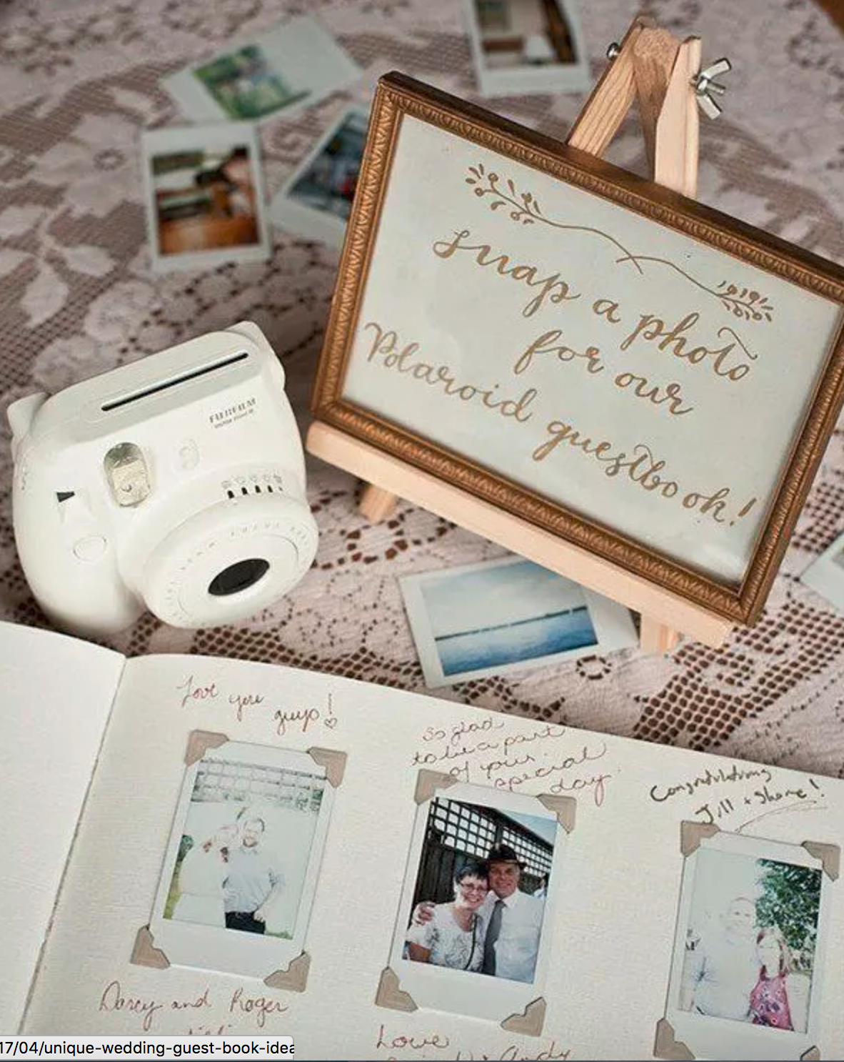 How I Want The Polaroid Guest Book To Look Like Photo Guest Book With Instax Camera On Display Scattere Polaroid Wedding Wedding Memorial Wedding Guest Book