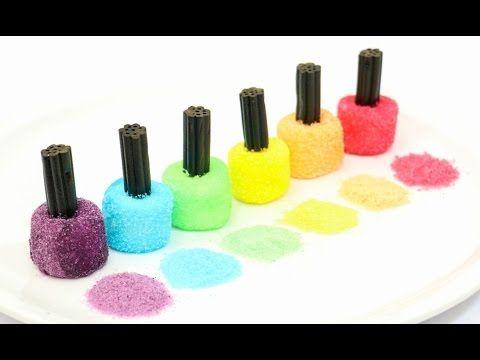rainbow nail polish marshmallows