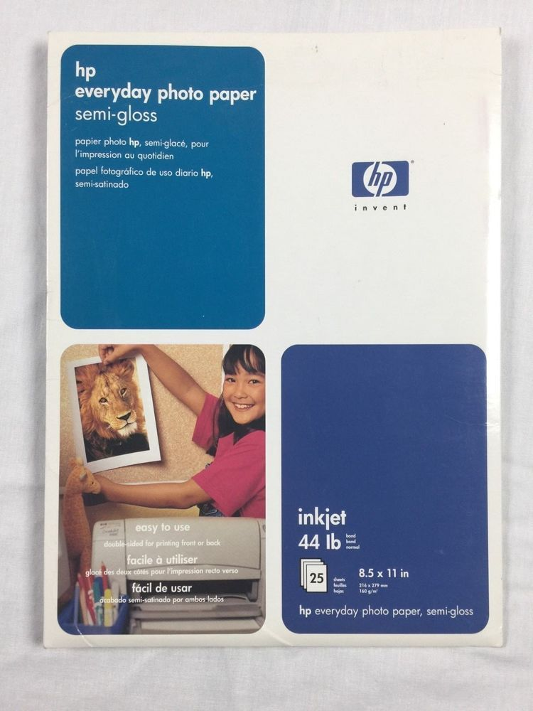 Hp Everyday Photo Paper Semi Gloss 8 5 X 11 25 Sheets Inkjet 44 Lb Hp Photo Paper Paper Photo