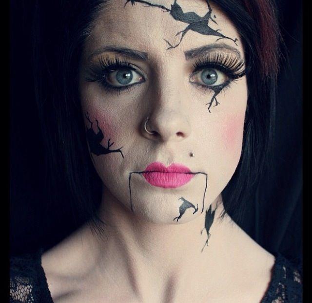 Broken china doll makeup. | Makeup By Kolleen | Doll ...  Broken china do...