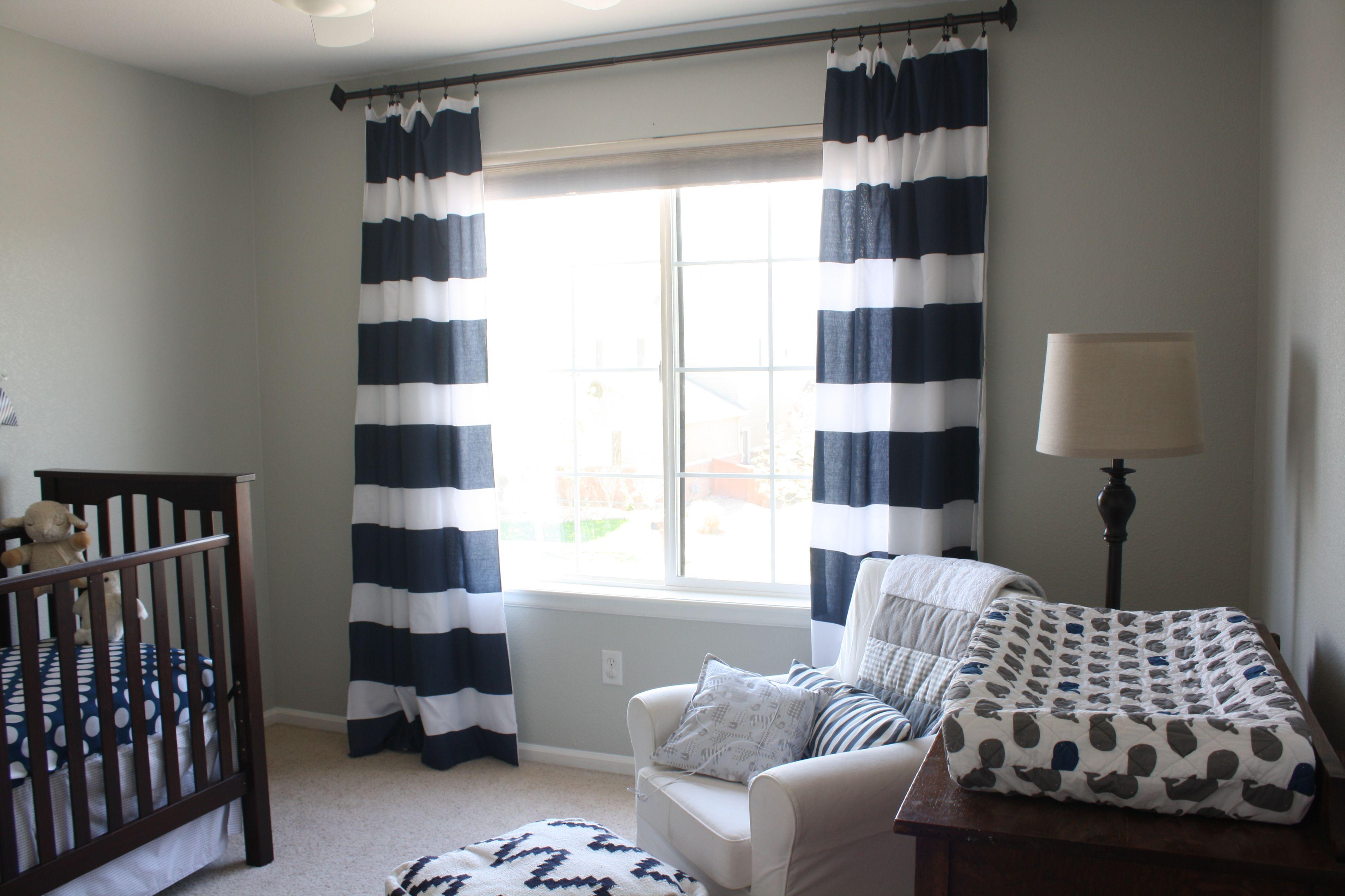 Img 9375 Nursery Gray Owl Ideas Striped Curtains Navy Blue