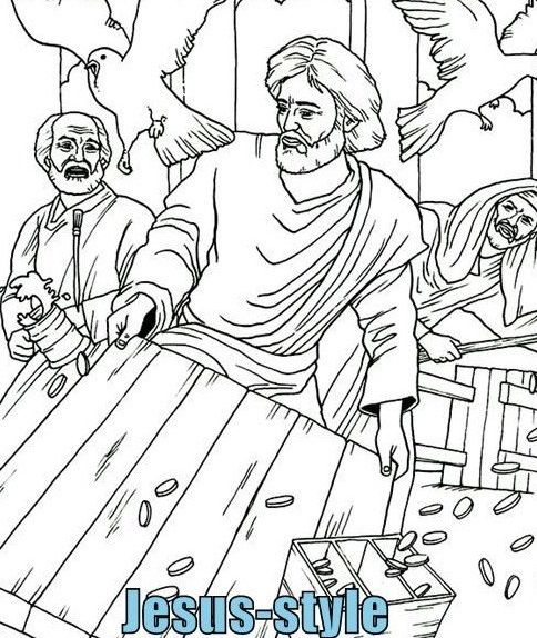 Jesus Flips The Table Sunday School Coloring Pages