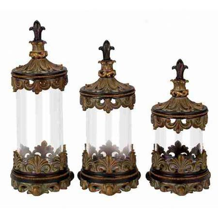 Three Canisters With Fleur De Lis Details.Product: Small, Medium And