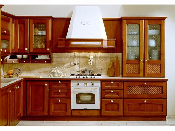 Cherry Wooden Kitchen Cabinet American Style