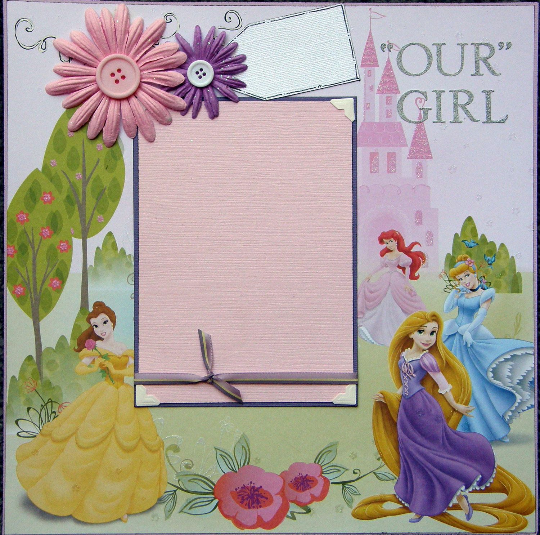 How to scrapbook disney - 12x12 Single Page Scrapbook Layout Disney S Princesses