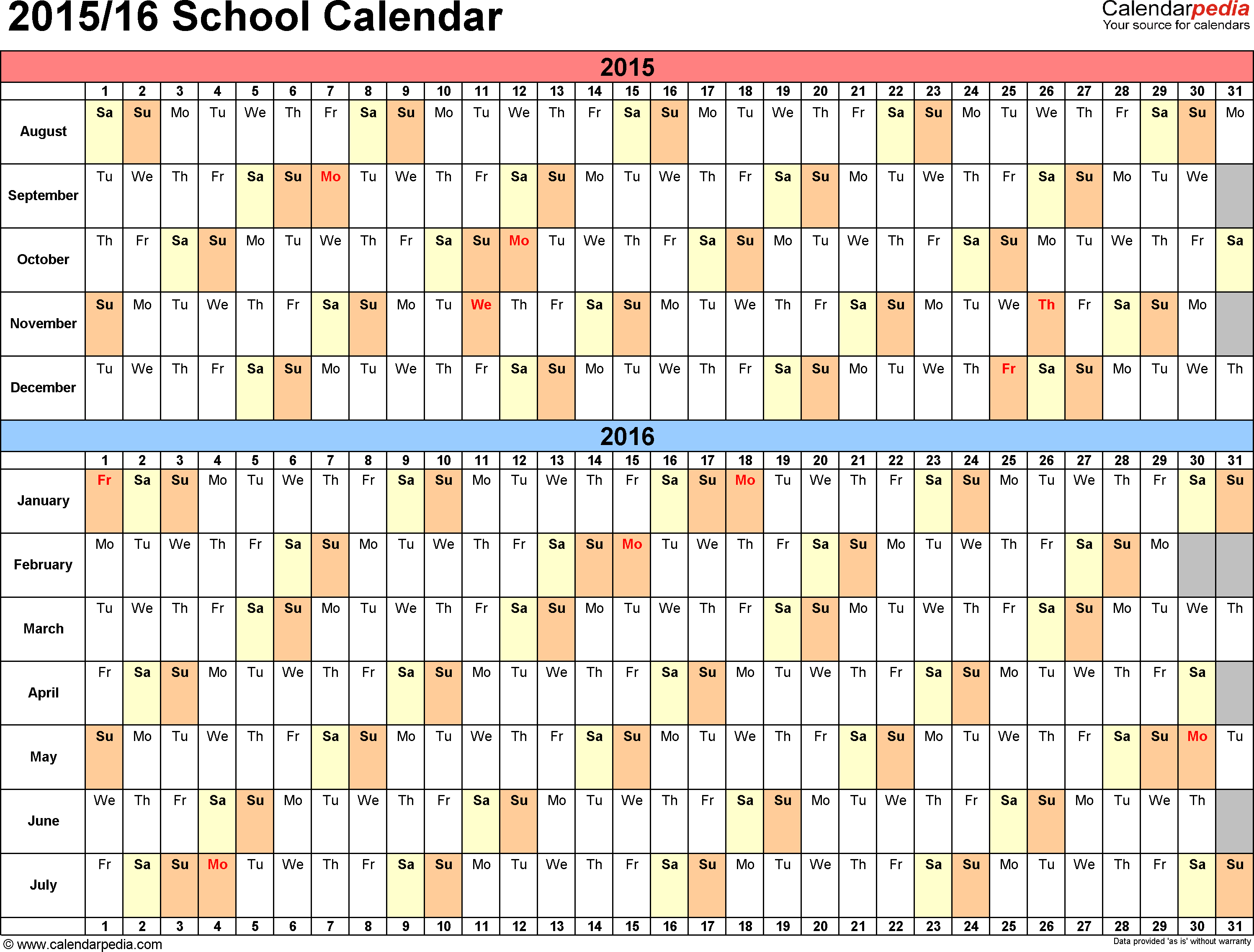 image for school calendars 2015 2016 as free printable word