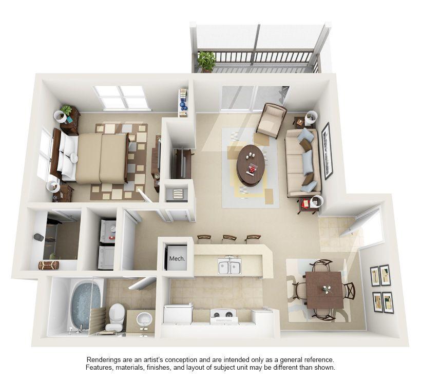 Apartment Studio Plan 3d Pesquisa Do Google Coisas