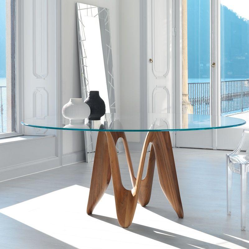 table ronde design en verre lambda