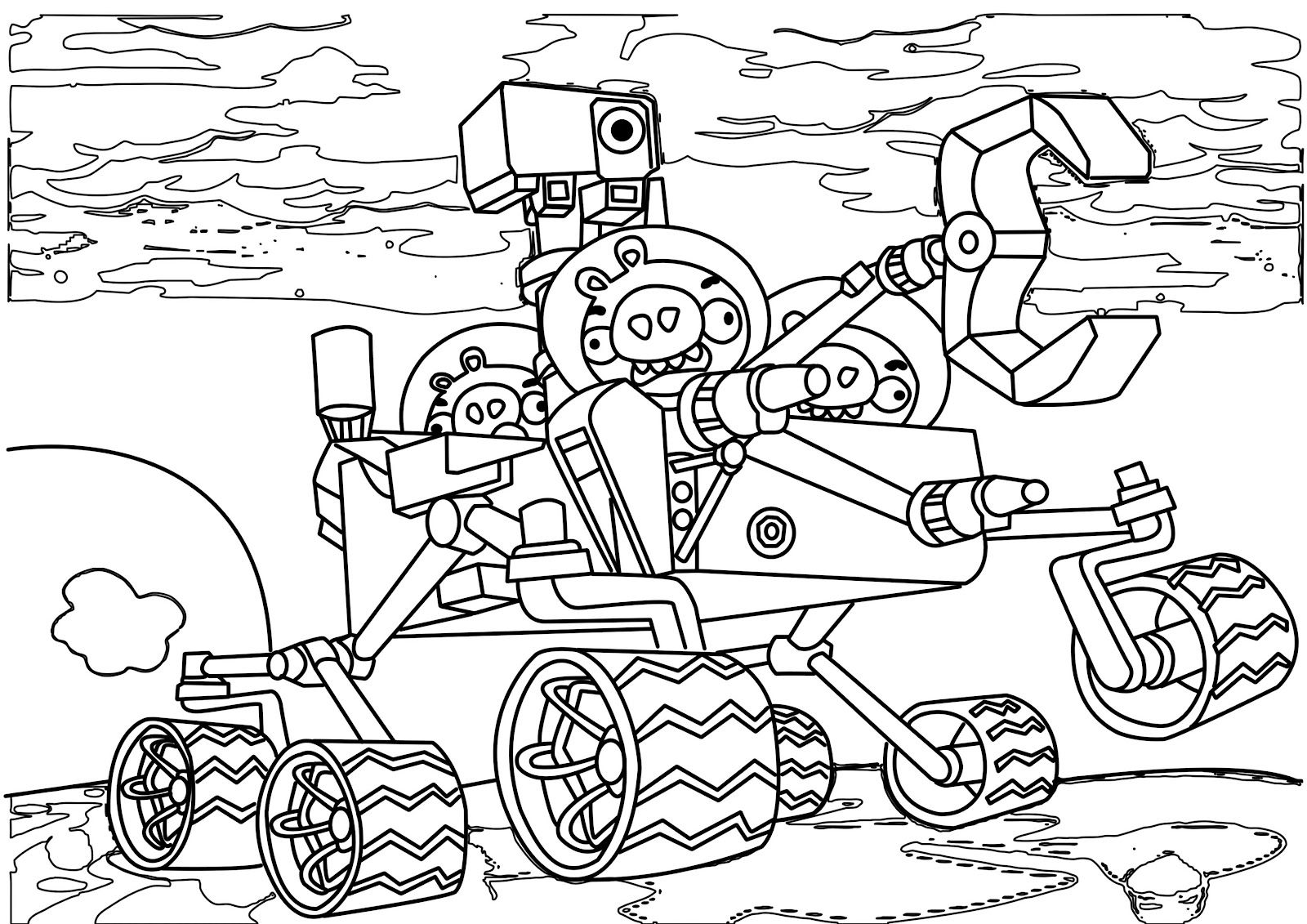Piggies Space Coloring Page