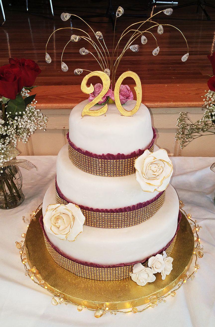 20th Wedding Anniversary Cake Fondant Flowers And Cake Topper