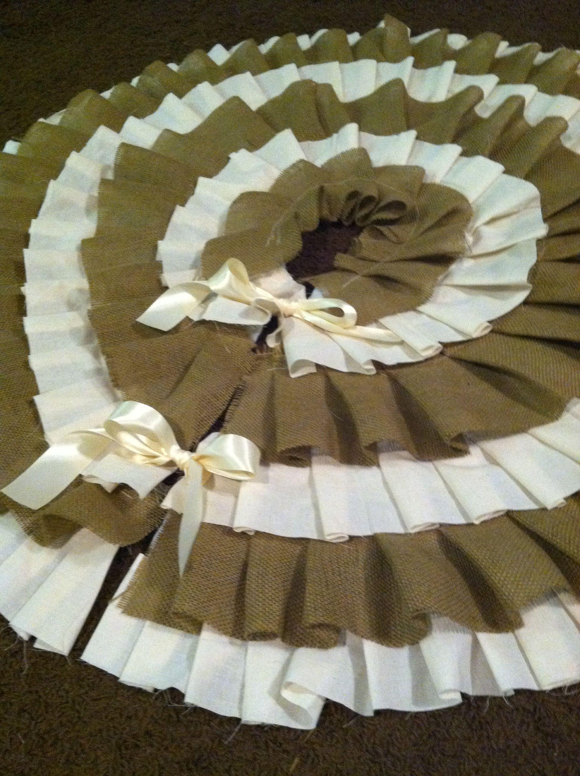 Burlap and muslin Christmas Tree skirt Christmas sewing