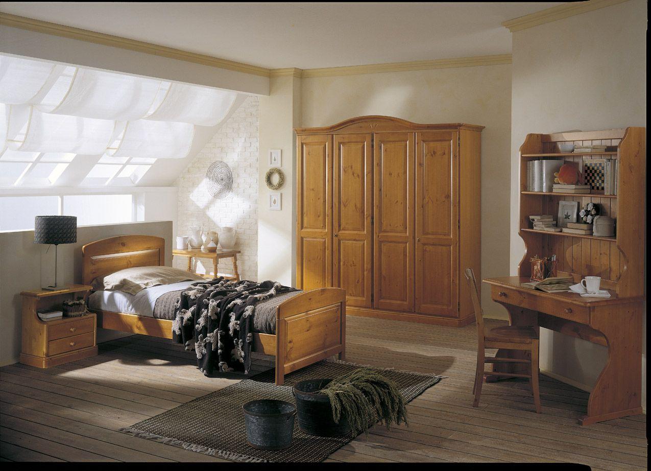 Camera con letto singolo scrittoio e libreria completa di armadio 4 ante con cornice curva - Mobili in legno di pino ...