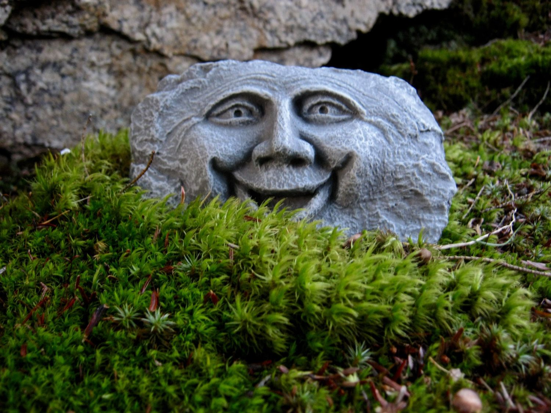 Rock Face, Happy Garden Face, Forest Spirit, Concrete Garden Statue ...