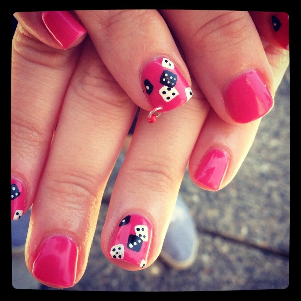 Love Nail Art: I Don't Like The Dice. I Love The Piercing And The Length