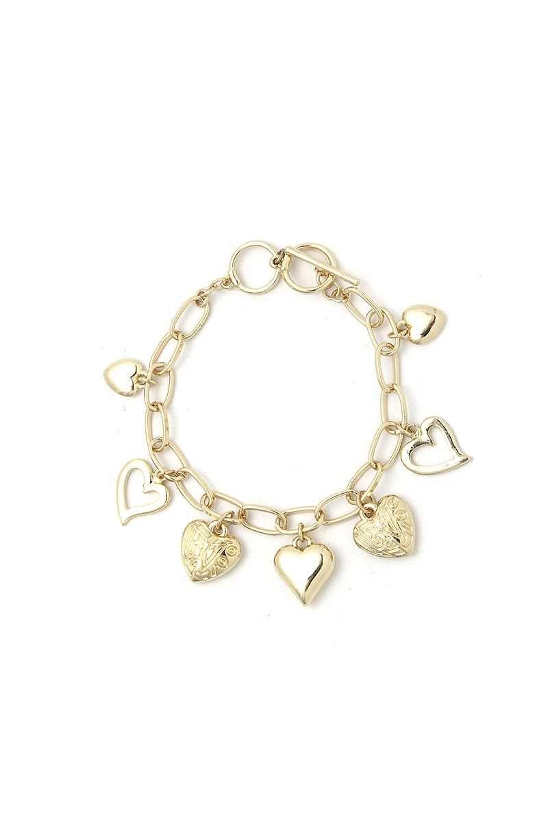 Imported FASHION MULTI HEART BRACELET Gold.Rhodium FBF Fashion Multi Heart Bracelet split