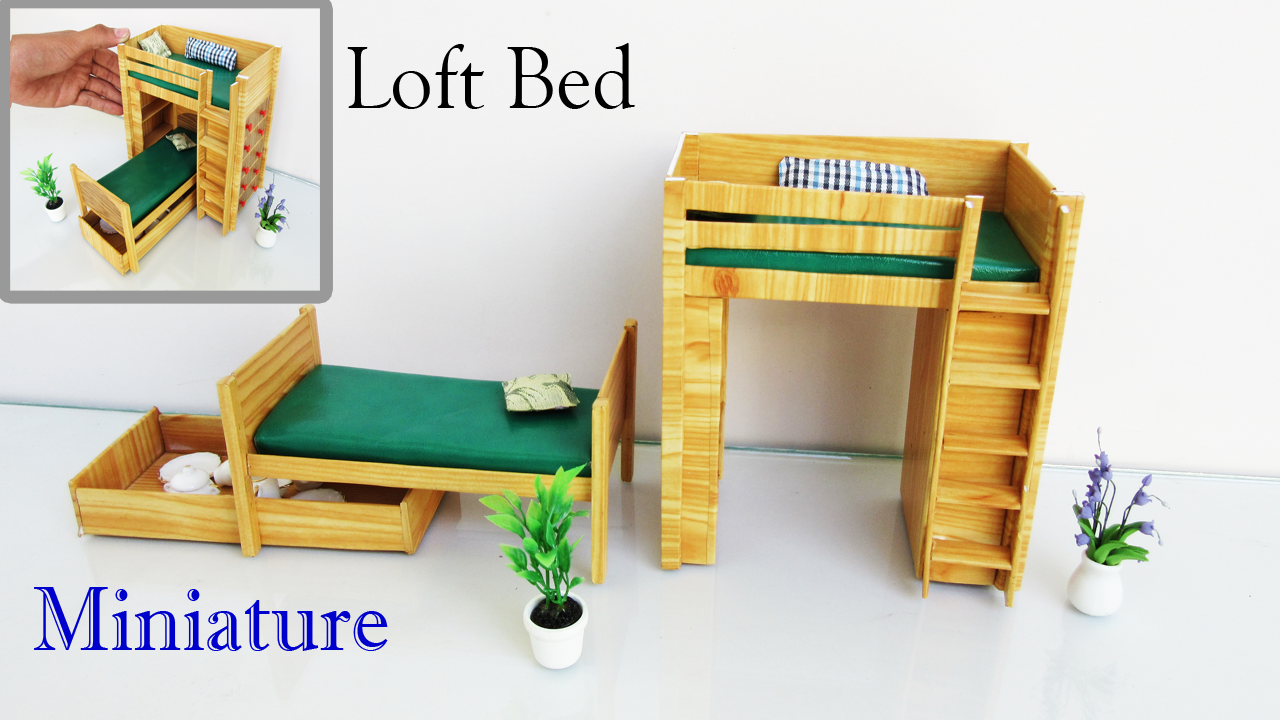 Loft Bed | How to make Miniature Realistic furniture | easy