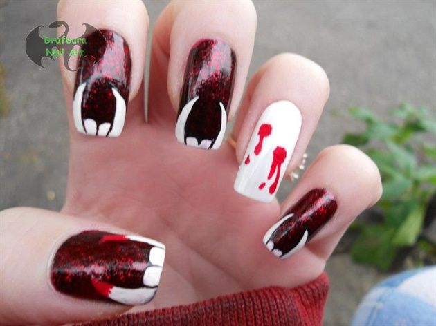 Vampire Teeth by Drafeara from Nail Art Gallery - Vampire Teeth. Awesome For Halloween Nails Art And Tips