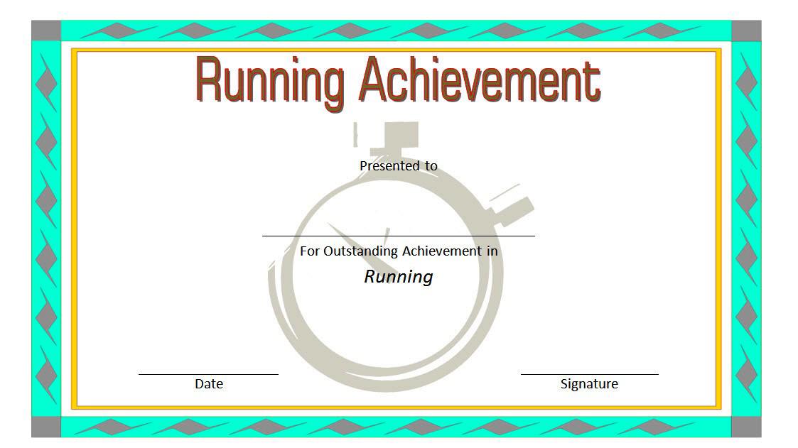 certificate template running award achievement onepackage xyz race