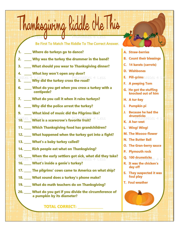 Thanksgiving Game Printable Thanksgiving Riddle Game