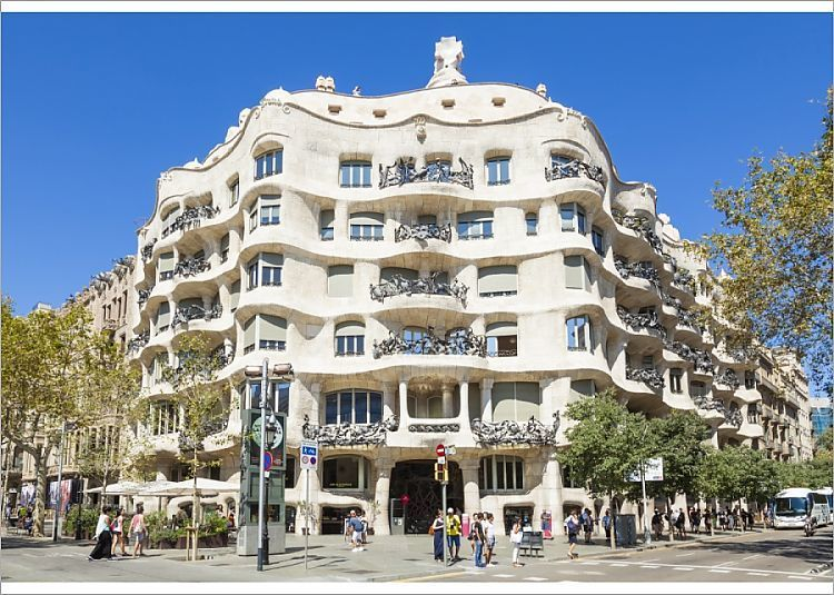 7x5 Inch (18x13cm) Print (other products available) - Front facade of the Casa Mila (La Pedrera) by Antoni Gaudi, UNESCO World Heritage Site, Barcelona, Catalonia (Catalunya), Spain, Europe - Image supplied by WorldInPrint - #MediaStorehouse - 7x5 Inch (18x13cm) Photograph printed in the UK