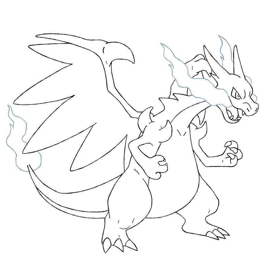 Mega Charizard Coloring Page Mega Charizard X Coloring Pages  Pokemon Party  Pinterest