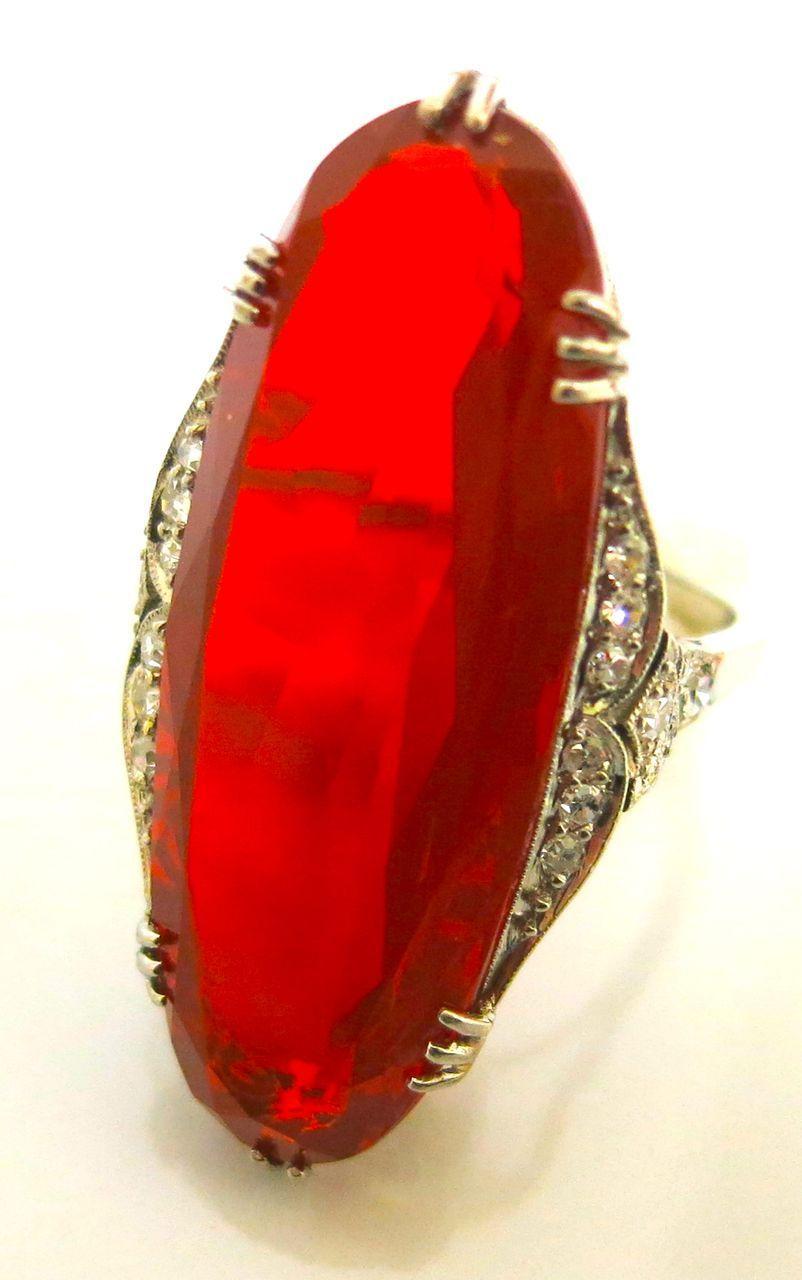 Art Deco Color Explosion Opal And Diamonds In Platinum