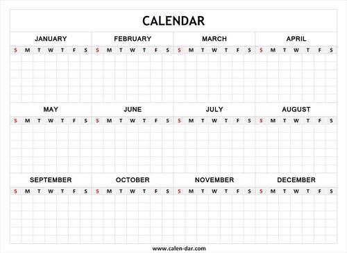 Blank Year Calendar Template  Printcalendar  Free Printable