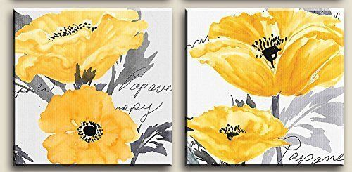 Gray Yellow Flower Floral Canvas Wall Art Modern Prints Posters Home ...