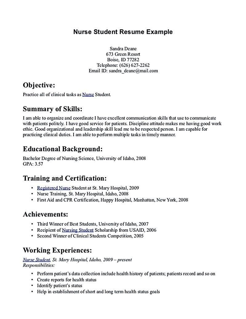 Student Resume Examples And Templates Student Nurse Resume Nursing Resume Template Student Resume