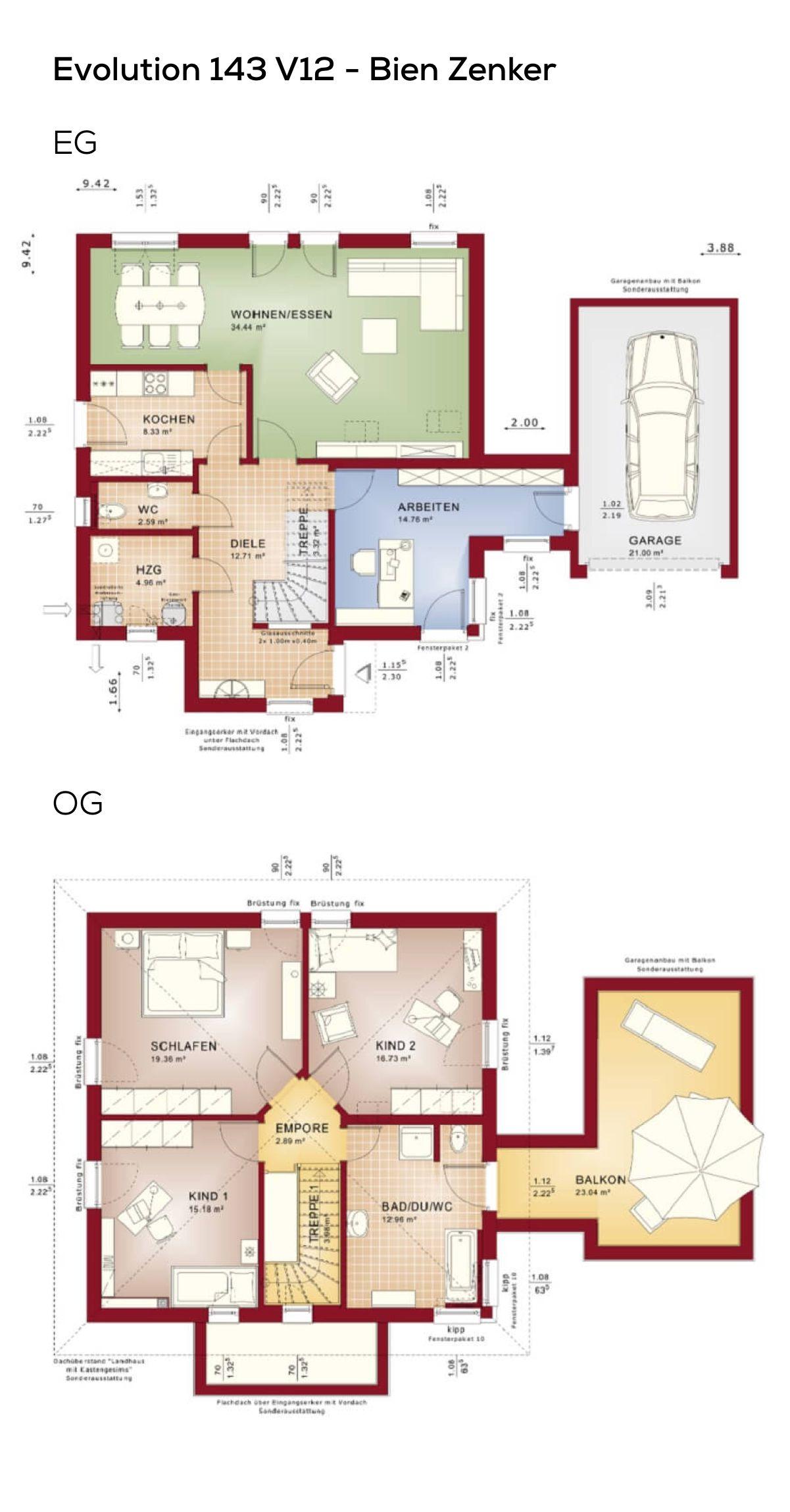 Grundriss Einfamilienhaus mit Garage & Büro Anbau 5