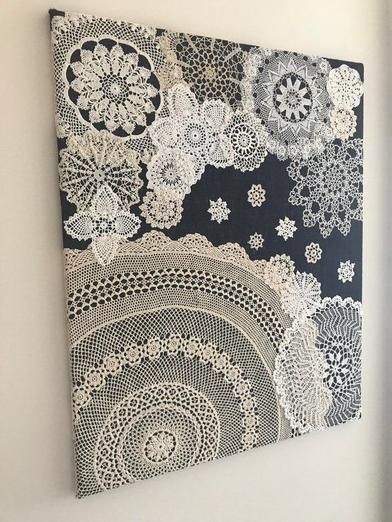 "Photo of Doily Art Wall Hanging – ""Snowy Night"" – Vintage Doilies on Burlap – Unique Artwork"
