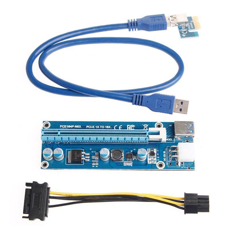6Pin PCI-E Express 1x To 16x Extender Riser Card Adapter USB3.0 SATA ...