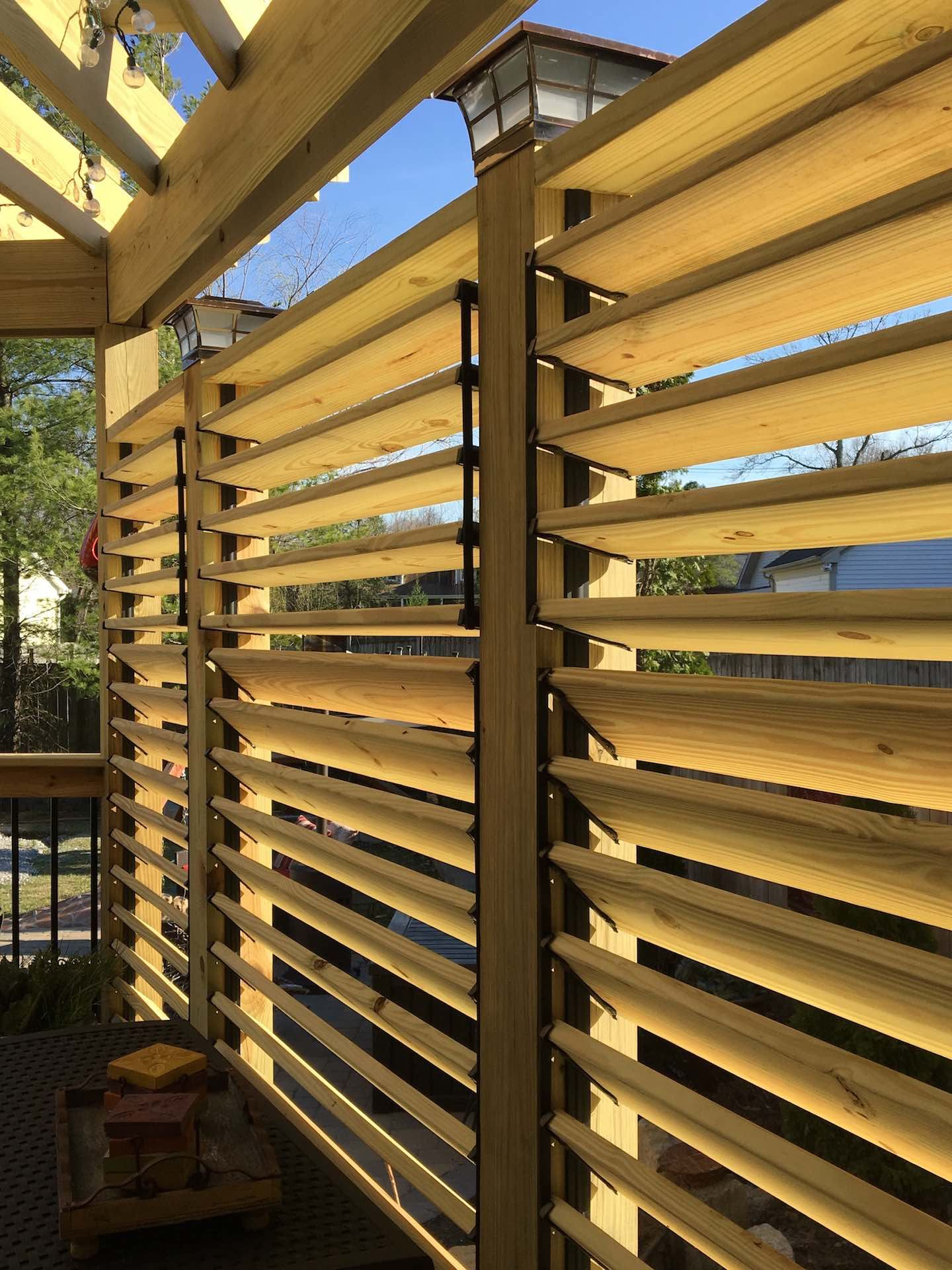 Louvered deck railings with partial privacy by matthew for Outdoor privacy panels for decks