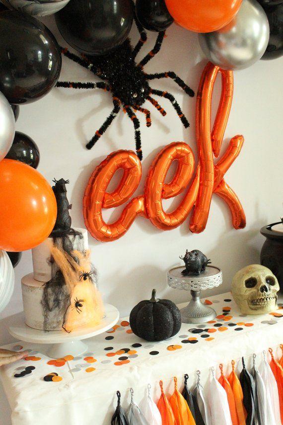 Halloween Backdrop - Halloween Balloon Garland - Halloween Party - how to decorate for halloween party