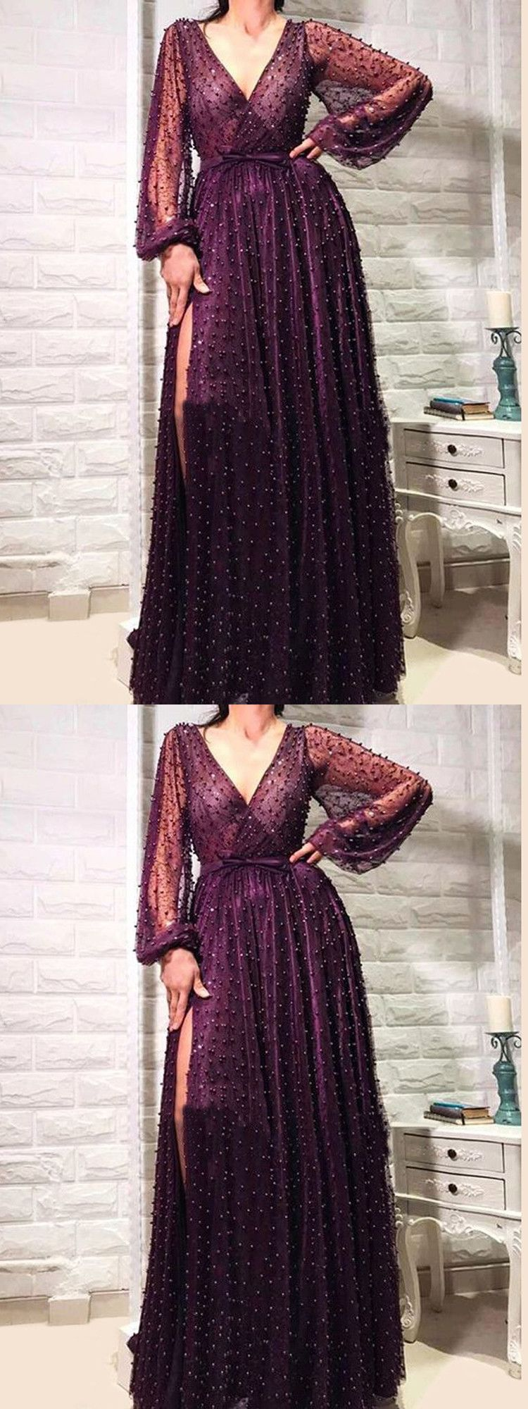 Chic v neck cheap prom dress long sleeve vintage african prom dress