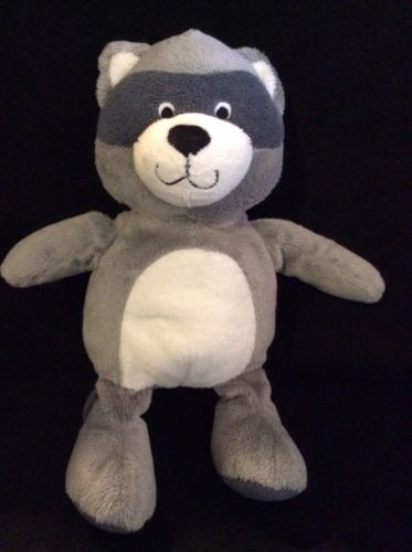 Carters Raccoon Gray Plush Lovey Soft Toy Baby Stuffed 10