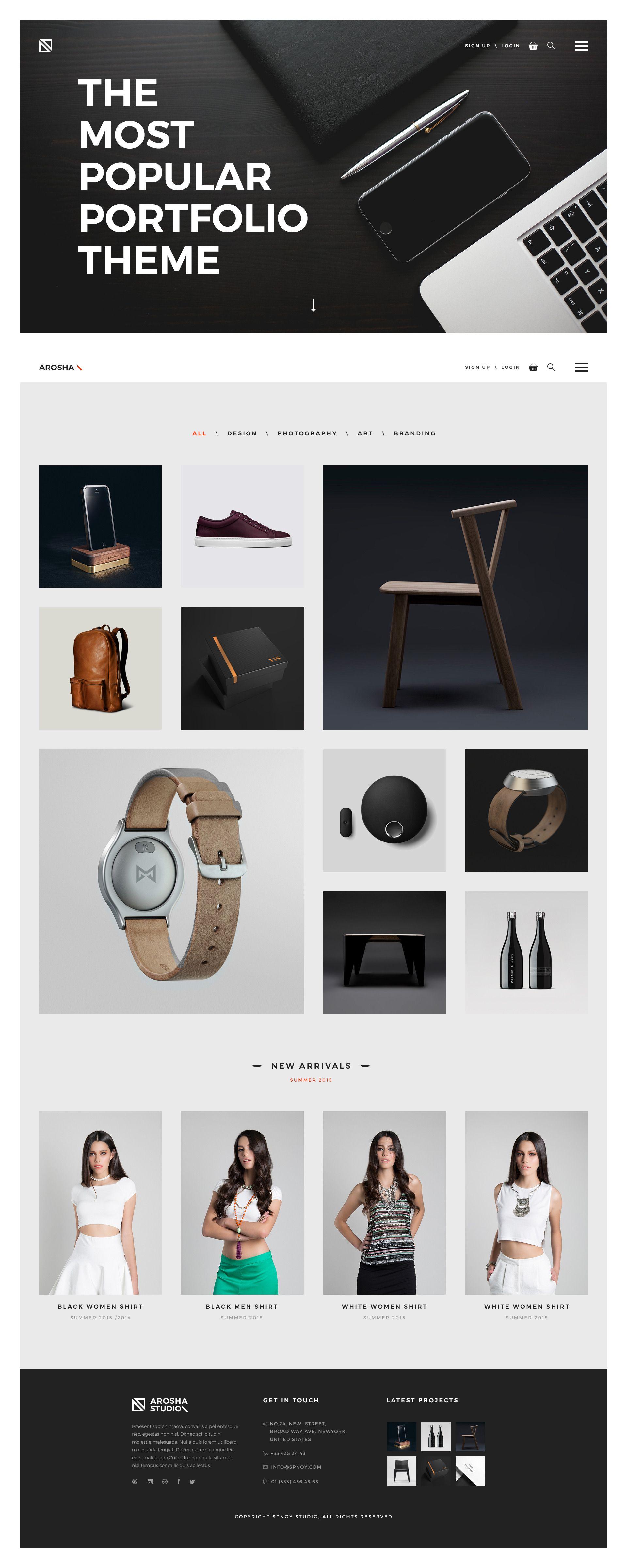 Arosha - Creative Minimal Shop PSD Template - PSD Templates ...
