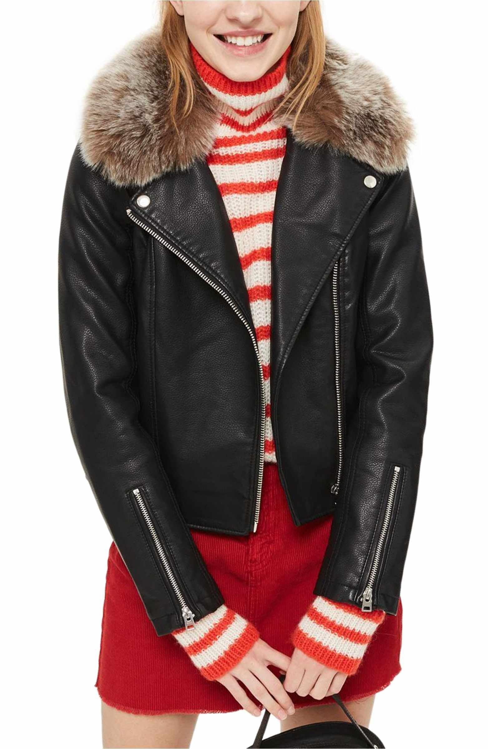 Rayne Faux Fur Trim Biker Jacket Jackets, Fur