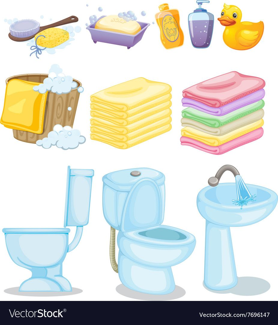 Set Of Bathroom Equipments Vector Image On Illustration Cartoon