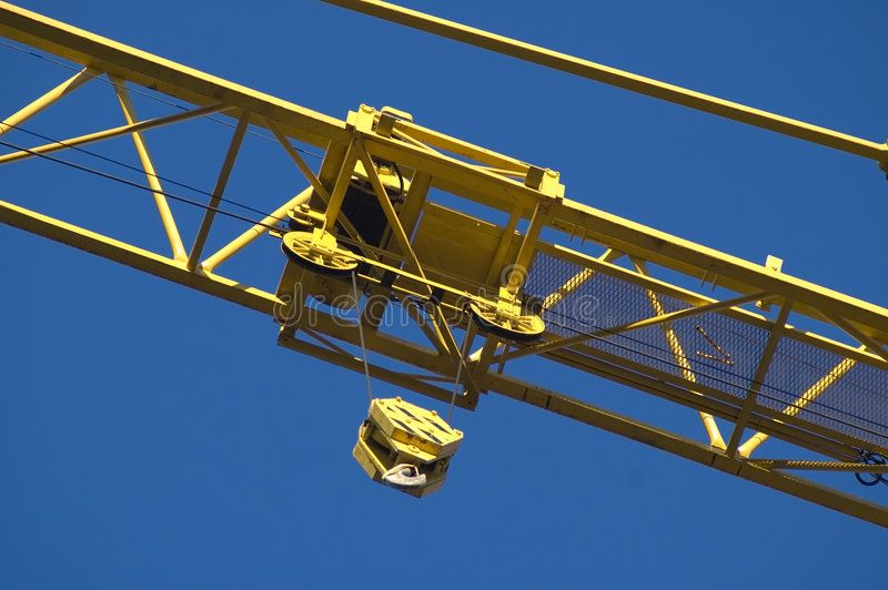 Crane. Yellow crane close up shoot from bottom up ,