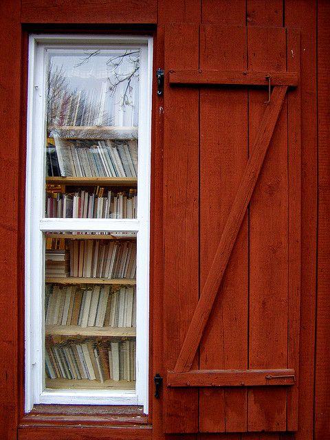 Window at the second hand bookshop in Wadköping open air museum, Örebro, Sweden