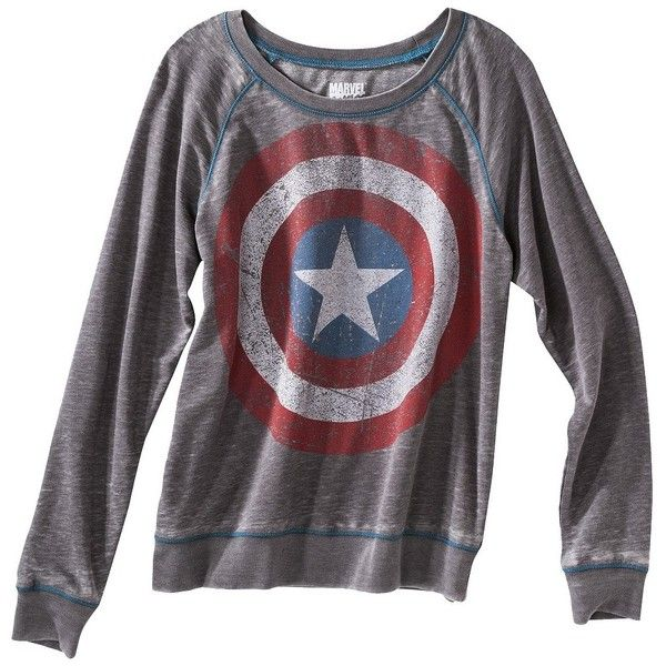 Junior's Captain America Long Sleeve Graphic Tee found on Polyvore - Visit to grab an amazing super hero shirt now on sale!
