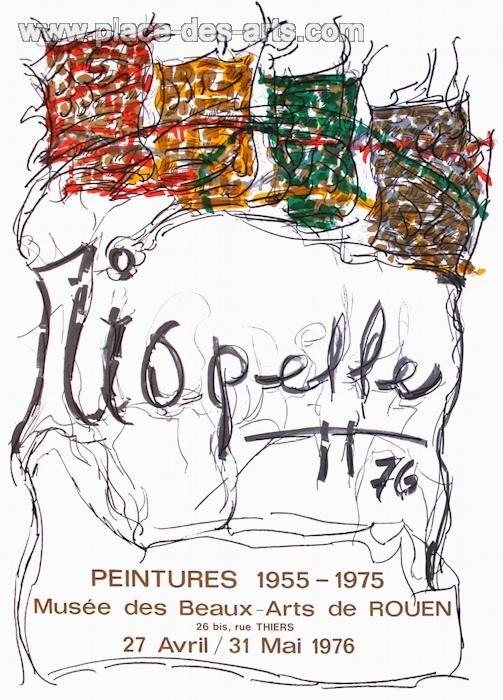 Expo 76 - Musée des Beaux Arts de Rouen, Affiche originale, du peintre, JEAN PAUL, RIOPELLE, Signée dans la planche