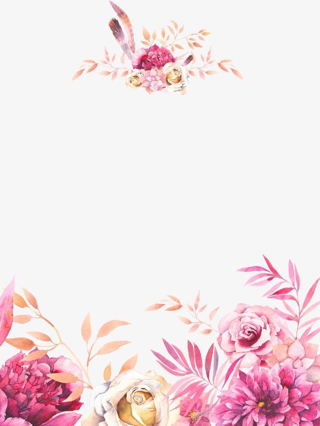 Acuarela Pintada A Mano Flores Bingkai Dan Kad