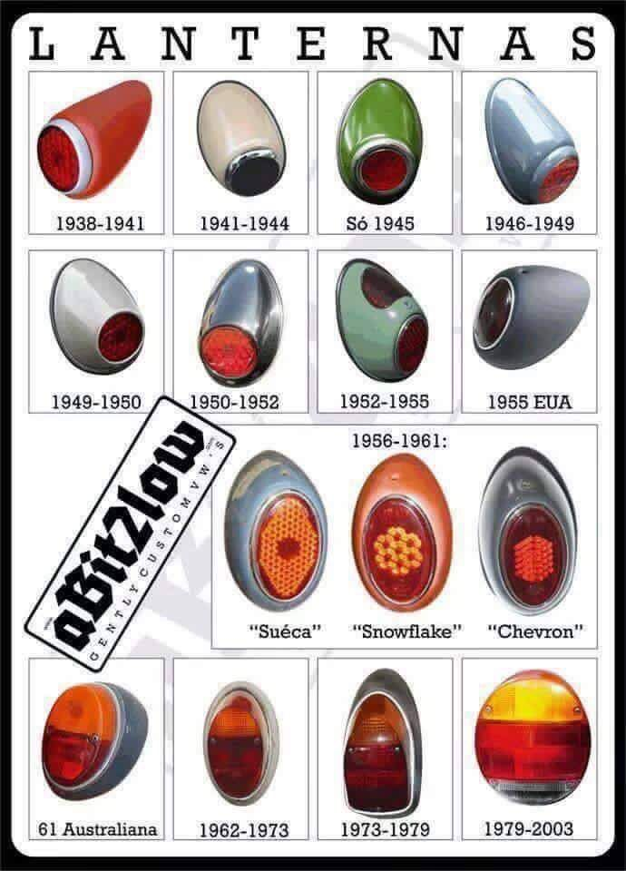 Different Vw Beetle Rear Signal Lamps Over The Years Vw