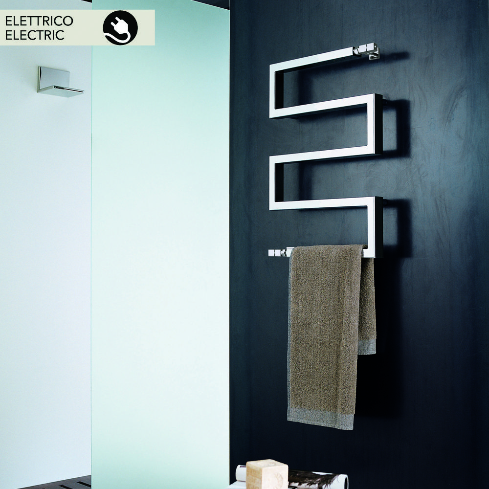 Chrome Electric Heated Towel Rails In Modern Design Snake By