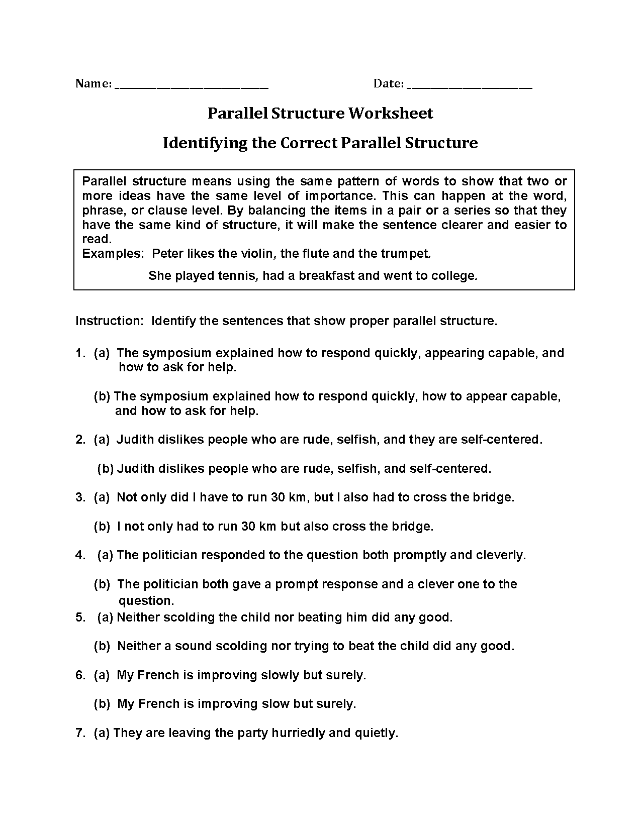 Identifying Correct Parallel Structure Worksheets | Teaching Helps ...