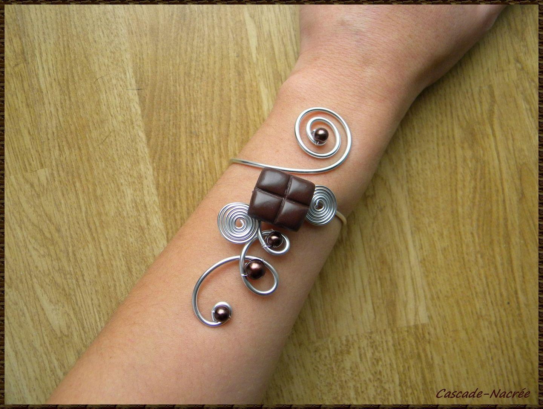 Bracelet bijou chocolat fimo polymere aluminium marron mariage , bijoux et  accessoires de mariage CASCADE,