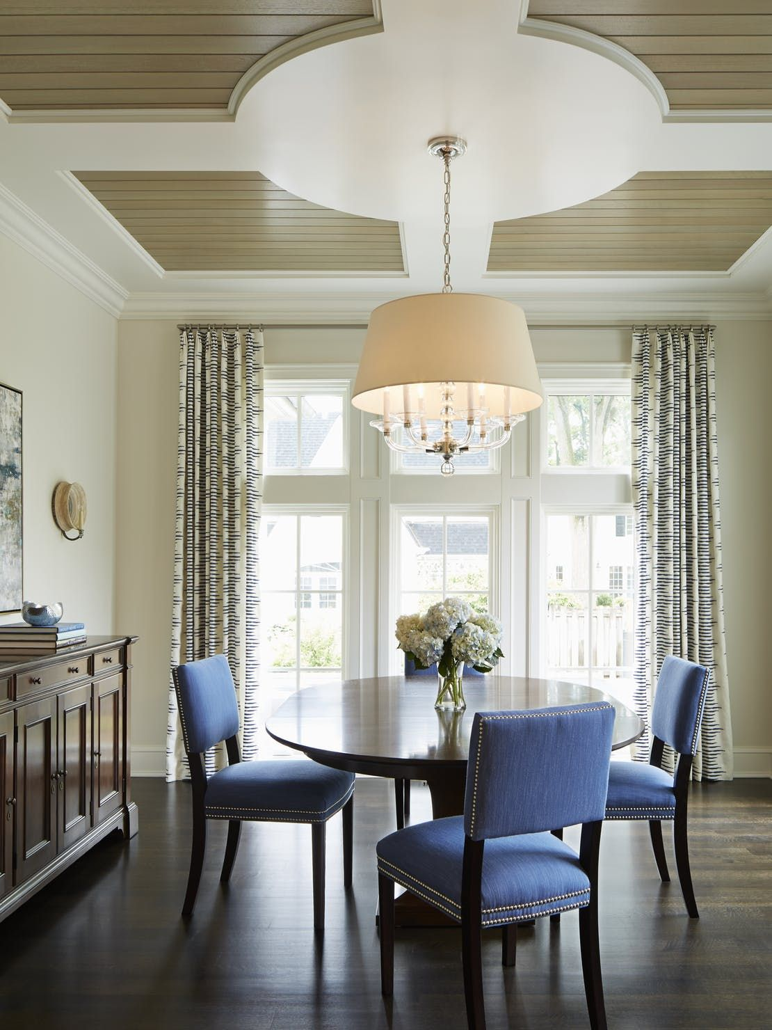 Winnetka KitchenBreakfast Room French Doors and custom ceiling ...